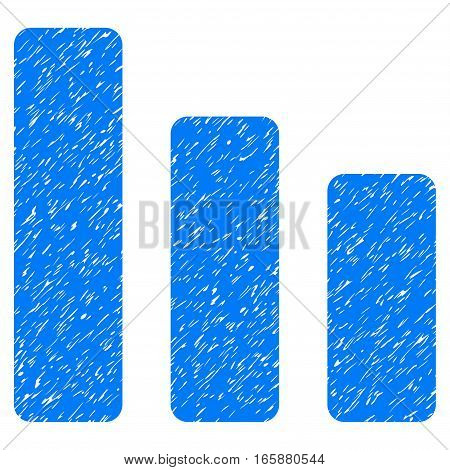Bar Chart Decrease grainy textured icon for overlay watermark stamps. Flat symbol with scratched texture. Dotted vector blue ink rubber seal stamp with grunge design on a white background.