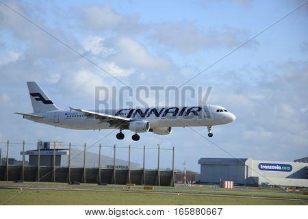 Schiphol Amsterdam The Netherlands april 11 2015: OH-LZB Finnair Airbus A321-211 approaching runway 09/27 Buitenveldert