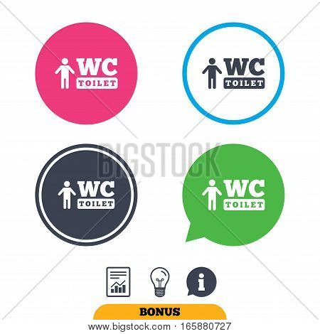 WC men toilet sign icon. Restroom or lavatory symbol. Report document, information sign and light bulb icons. Vector