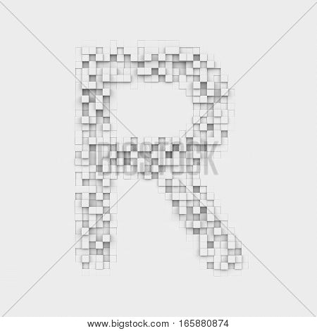 3d rendering of large letter R made up of white square uneven tiles on white background. Letters and numbers. Symbolism. Alphabet.