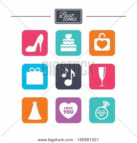 Wedding, engagement icons. Cake with heart, gift box and brilliant signs. Dress, shoes and musical notes symbols. Colorful flat square buttons with icons. Vector