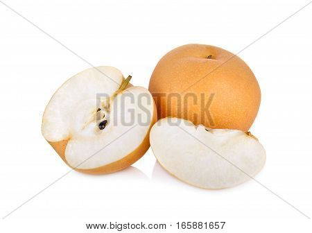 whole and cut snow pear or Fengsui pear on white background