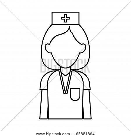 professional nurse hat uniform medical outline vector illustration eps 10