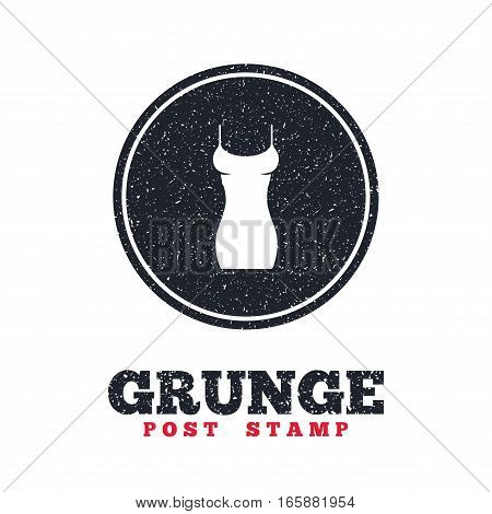 Grunge post stamp. Circle banner or label. Women dress sign icon. Intimates and sleeps symbol. Dirty textured web button. Vector