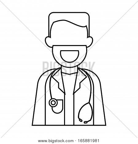 character doctor beard stethoscope health outline vector illustration eps 10
