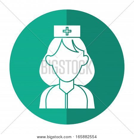woman paramedic help urgency wearing uniform with shadow vector illustration