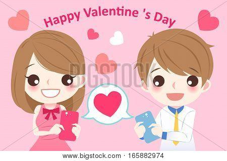 cute cartoon couple use cellphone with love heart