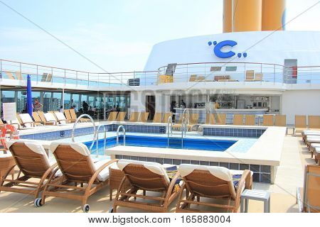 Amsterdam the Netherlands august 2nd 2014 Costa Neo Romantica swimming pool