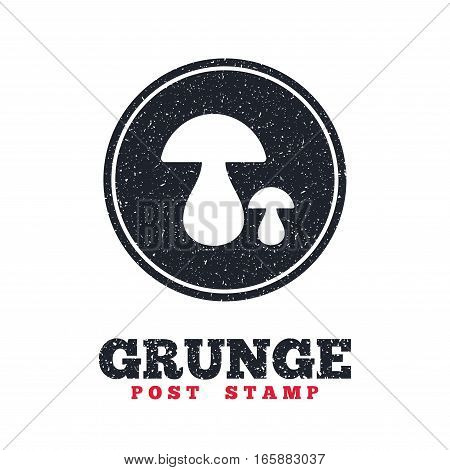 Grunge post stamp. Circle banner or label. Mushroom sign icon. Boletus mushroom symbol. Dirty textured web button. Vector