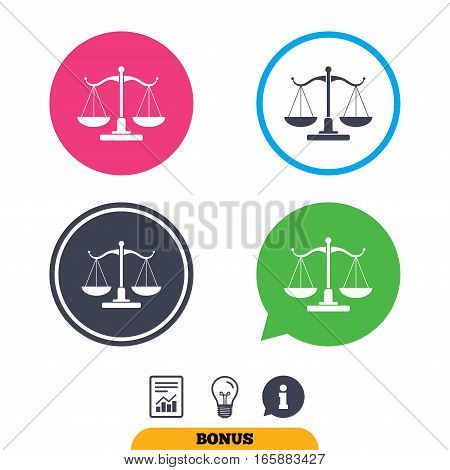 Scales of Justice sign icon. Court of law symbol. Report document, information sign and light bulb icons. Vector
