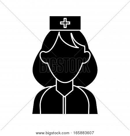 silhouette woman paramedic help urgency wearing uniform vector illustration