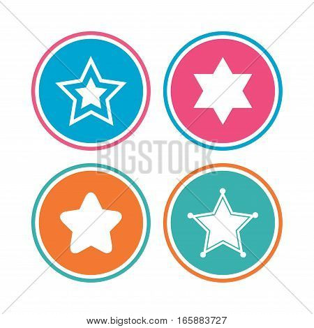 Star of David icons. Sheriff police sign. Symbol of Israel. Colored circle buttons. Vector