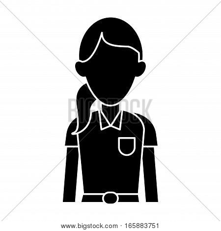 silhouette woman paramedic worker hospital emergency vector illustration eps 10