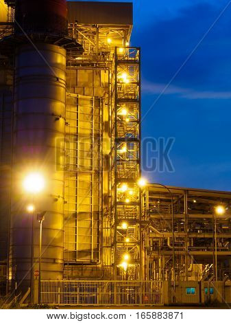 Twilight photo of power plant at Butterworth, Penang, Malaysia
