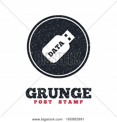 Grunge post stamp. Circle banner or label. Usb Stick sign icon. Usb flash drive button. Dirty textured web button. Vector