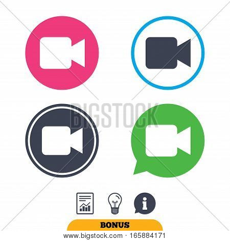 Video camera sign icon. Video content button. Report document, information sign and light bulb icons. Vector