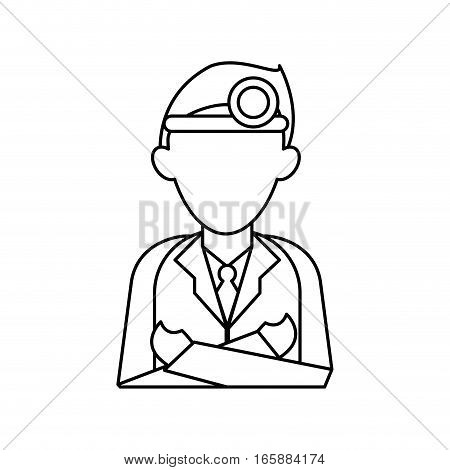 doctor crossed arms wearing head mirror medical consultation outline vector illustration