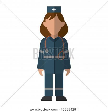 woman paramedic urgency wearing uniform stethoscope vector illustration