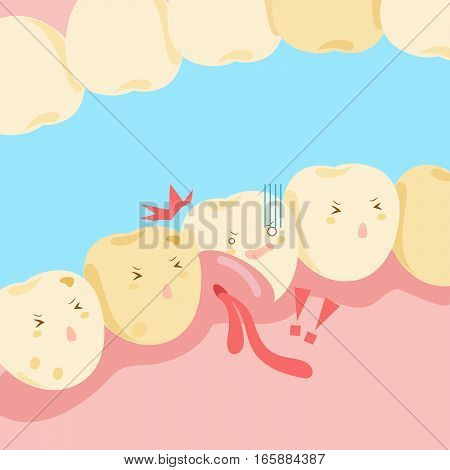 cartoon tooth with gingival swelling and bleeding