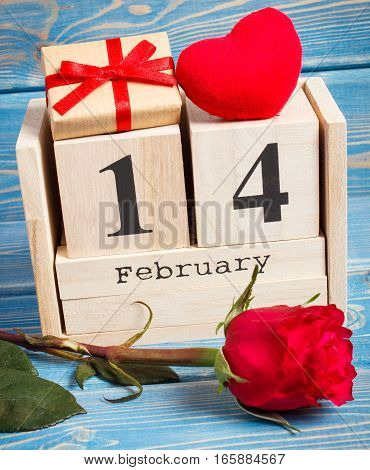 Cube Calendar With Gift, Red Heart And Rose Flower, Valentines Day