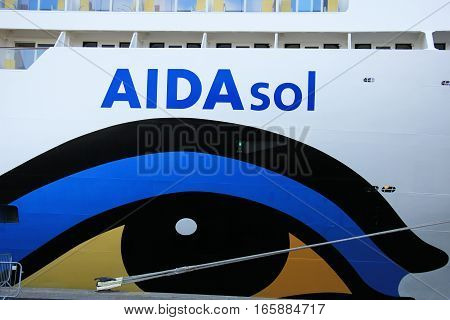 IJmuiden The Netherlands - May 27 2015: AIDAsol AIDAsol is a Sphinx class cruise ship built at Meyer Werft in 2011 for AIDA Cruises. She is 252 m (826.77 ft) long.