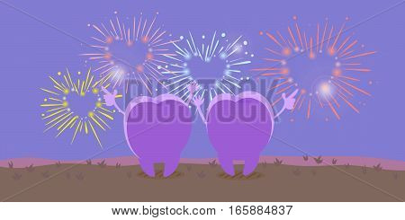 cute cartoon tooth looking fireworks on grass