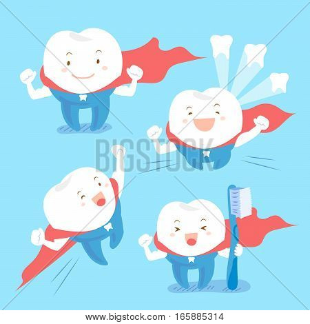 super cartoon tooth take brush and feel happily