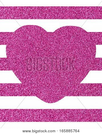 A pattern of  pink lines on a white background with a large heart Background of horizontal glittery pink stripes with a big heart in the middle with copy space The Theme of love and Valentines Day Idea for greeting card Rectangular orientation Texture gli