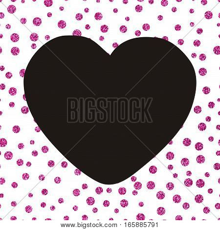 Pattern of small pink dots scattered on a white background with a large black heart Shining glittery background with chaotic dots of different sizes and the big black heart Theme and Valentines Day Idea for greetings