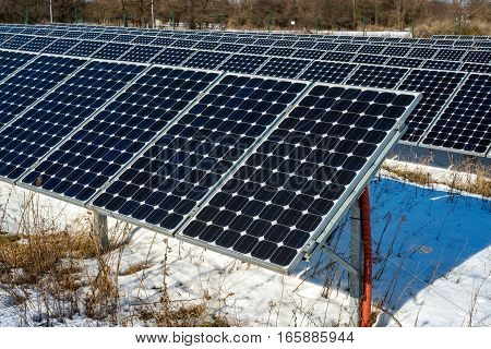 Solar panel photovoltaic alternative electricity source - selective focus copy space