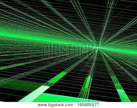 Perspective background - abstract computer-generated image. Fractal geometry: green glowing in dark straight lines stretching to the horizon. Technology or sci-fi backdrop for banners, posters, web design.