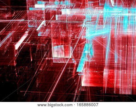 Tech background: Red glass structure with light effects. Abstract computer-generated image. Concept pattern for industry, sci-fi or technology design.