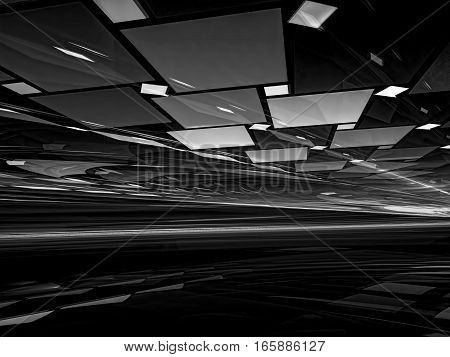 Fractal background - chaos tiles with perspective and light effects. Abstract computer-generated image for covers, posters, web design.