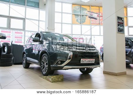 Showroom And Car Of Dealership Mitsubishi In Kirov City In 2016
