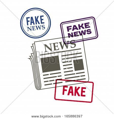 newspaper icon. fake news stamp set, vector illustration