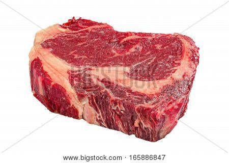 Rib Eye Fresh Meat Steak Isolated On White Background