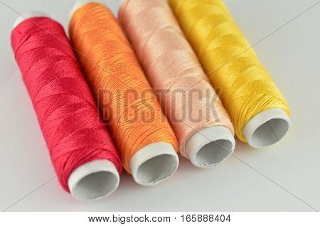 Closeup colorful yarn isolated on white background