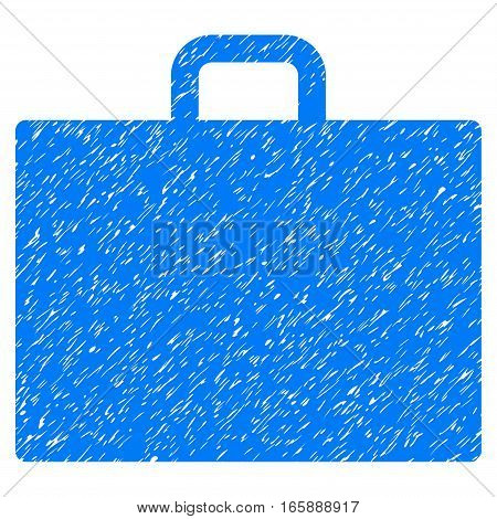 Case grainy textured icon for overlay watermark stamps. Flat symbol with unclean texture. Dotted vector blue ink rubber seal stamp with grunge design on a white background.