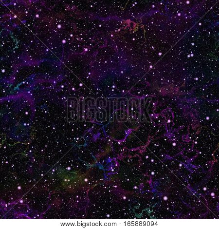 Abstract dark violet universe.  Purple nebula night starry sky. Blue outer space.  Galactic texture background. Seamless illustration.