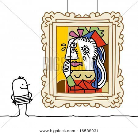 hand drawn cartoon characters - man watching a Pablo parody