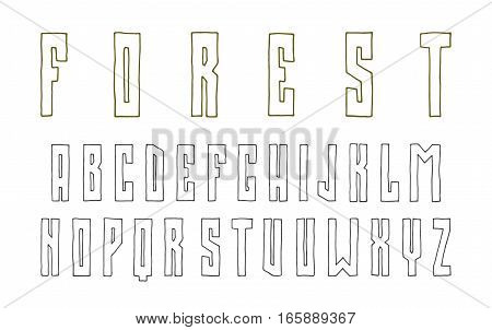 Narrow sanserif contour font in the style of hand-drawn graphics. Isolated on white background