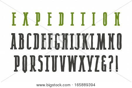 Narrow serif font in the style of hand-drawn graphics. Isolated on white background