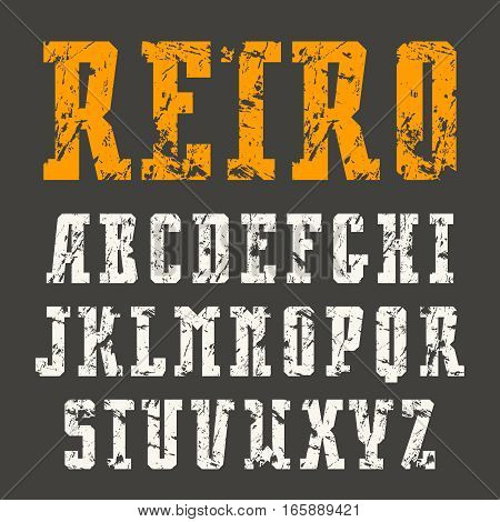Narrow slab serif font in retro style with shabby texture. Print on black background