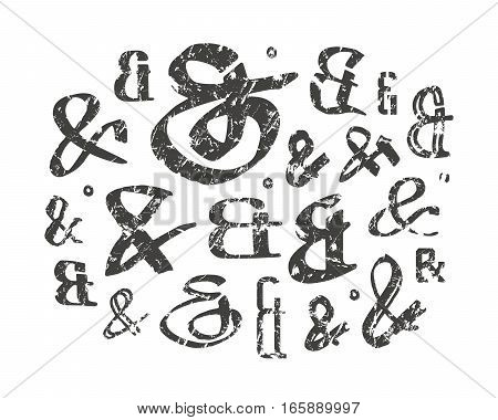 Set of decoration ampersands for letters and invitation. Hand drawn type with shabby texture. Isolated on white background