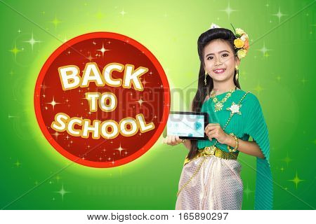 Traditional Thai Girl Child With Back To School Text.