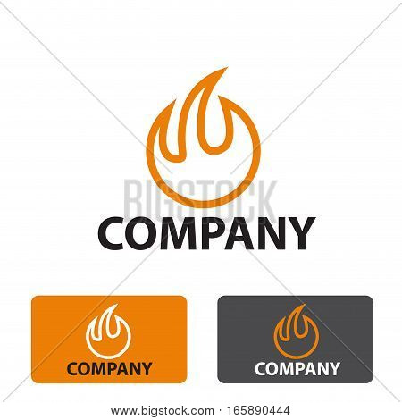 Vector stylized sign fire, three logo isolated