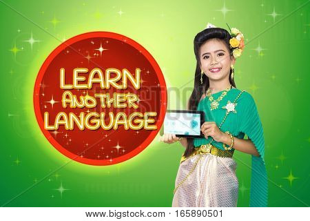 Traditional Thai Girl Child With Learn Another Language Text.