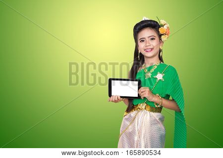 Traditional Thai Old Style Dress With Girl Children In Old Fashion Style Dress, Cute Female Thailand