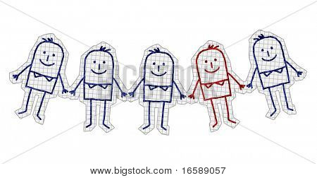 hand drawn cartoon characters on checked paper - unique man in a group