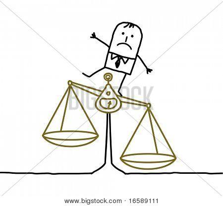 hand drawn cartoon characters - man & imbalance, injustice
